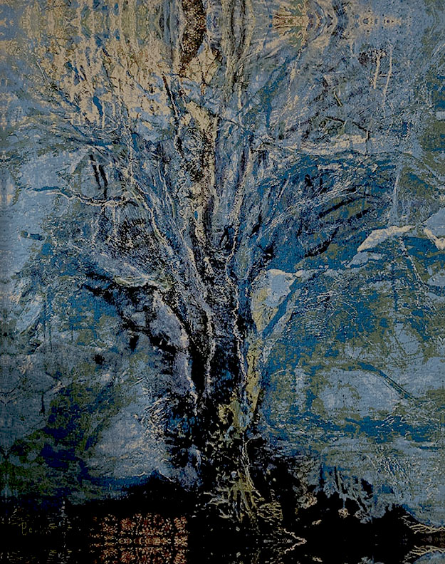 Blauwe Boom, weefkleed 166x210 cm