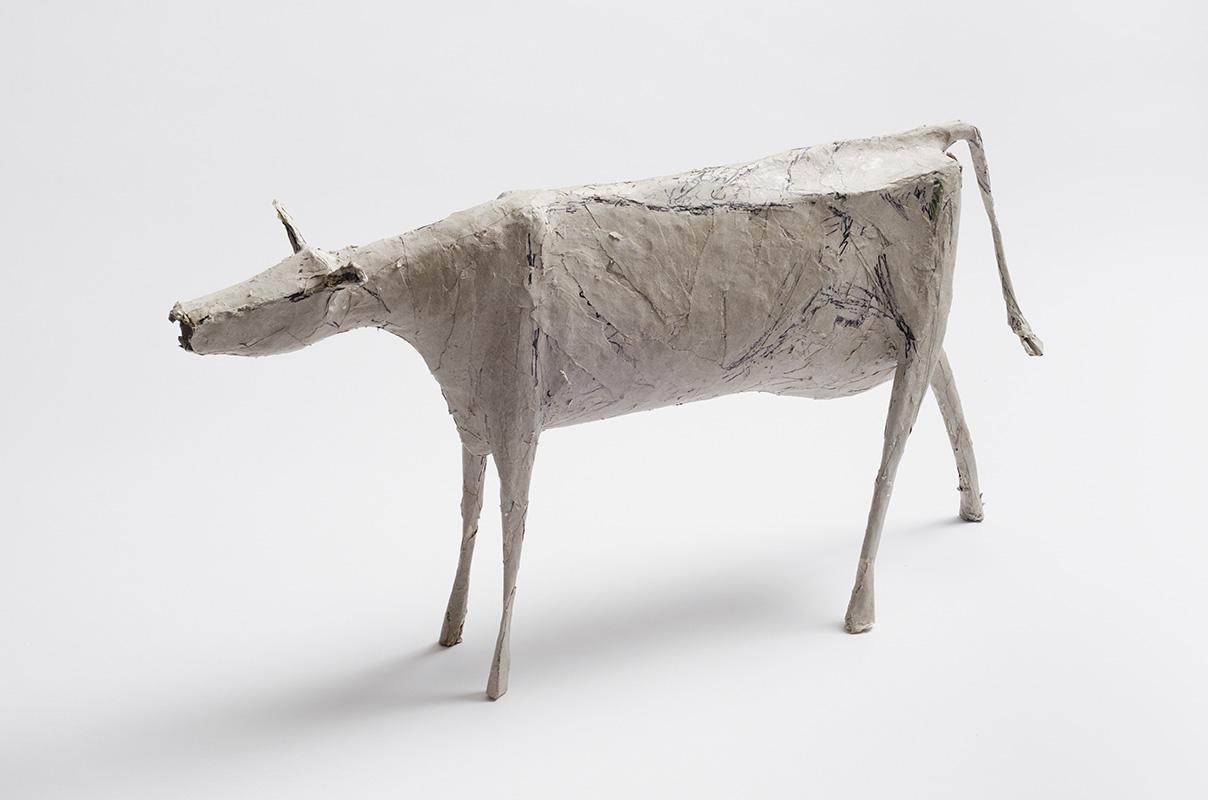 Beige Koe, gemengde techniek, 31 cm hoog