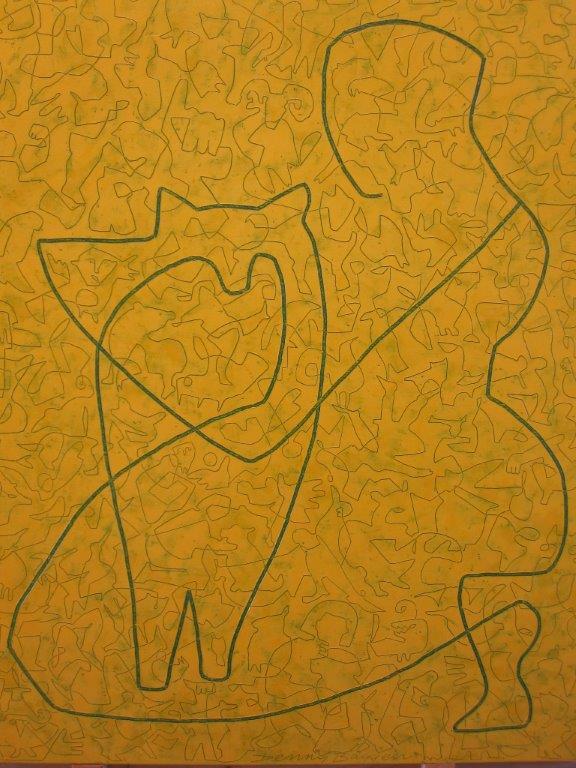 Galerie Delfi Form, Vrouwfiguur met poes, schilderij 90x70 cm