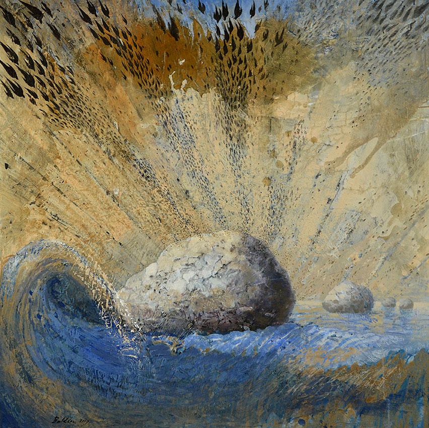 Landing schilderij 100 x 100 cm, verkocht
