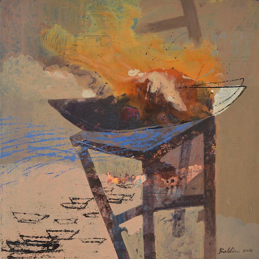Landing, acrylschilderij op doek 65 x 70 cm