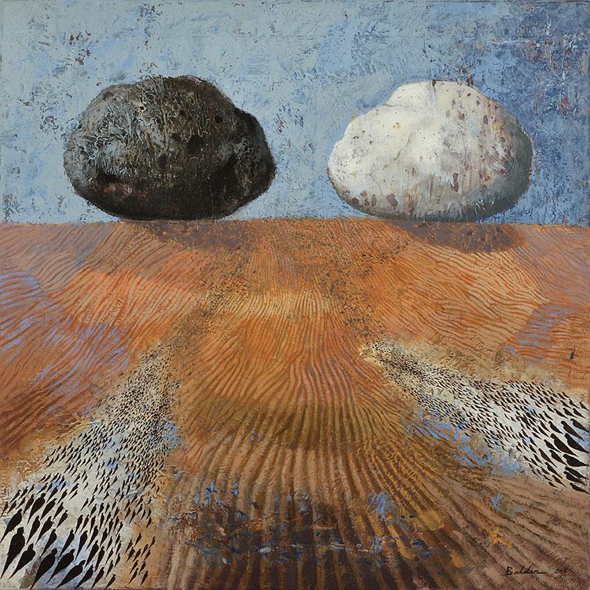 Landing, acrylverfschilderij 90 x 90 cm