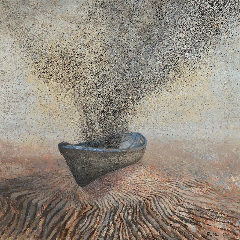 Landing, acrylschilderij 100 x 100 cm
