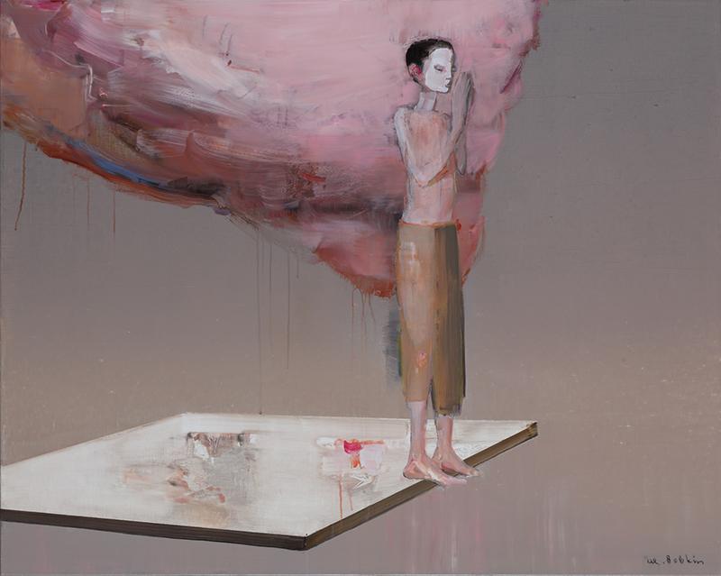 On the edge, olieverfschilderij 80 x 100 cm