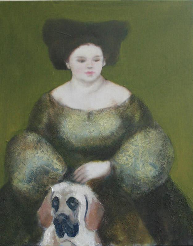 Vrouw met hond, schilderij 100x80 cm, verkocht