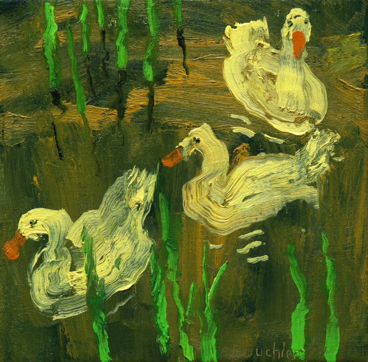 Ganzen III, schilderij 24 x 24 cm