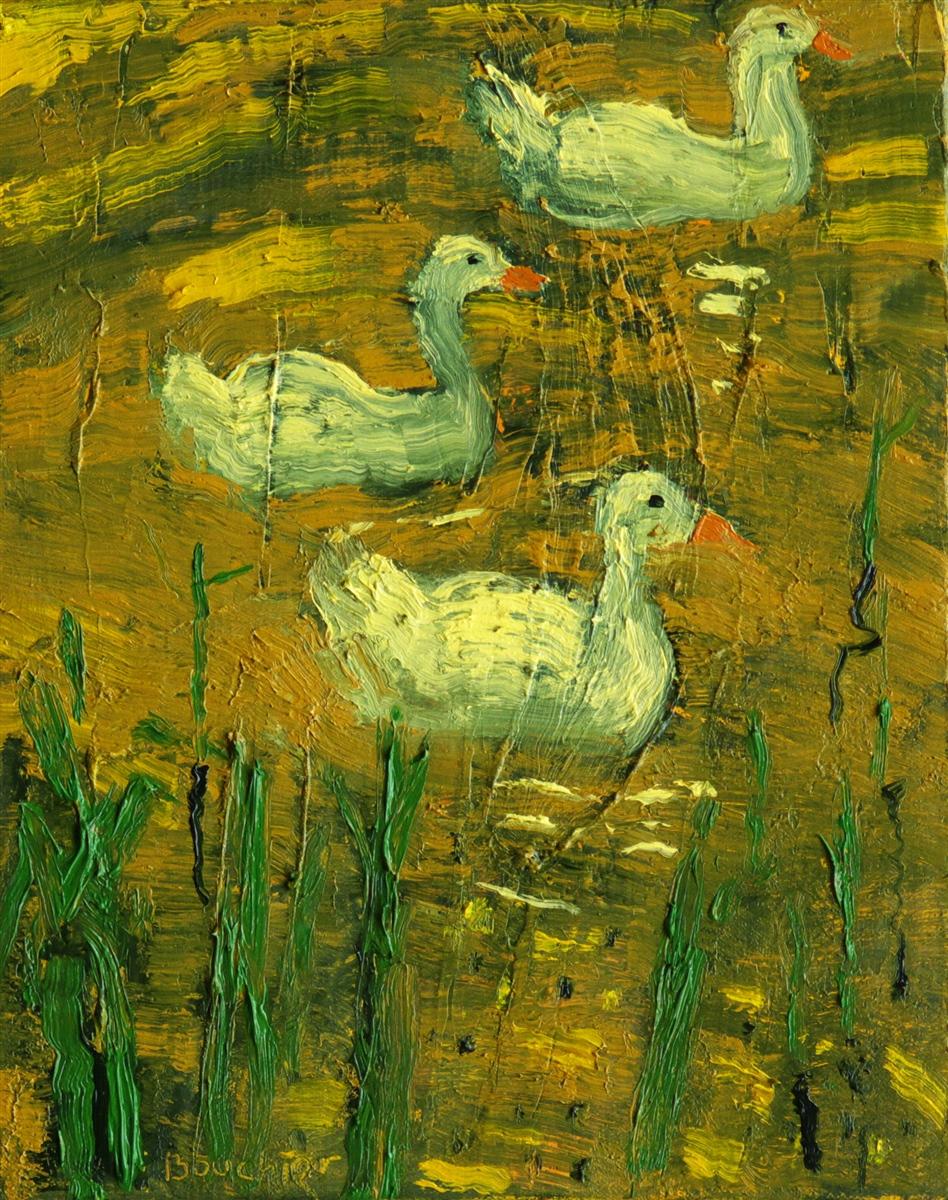 Ganzen II, schilderij 30 x 24 cm