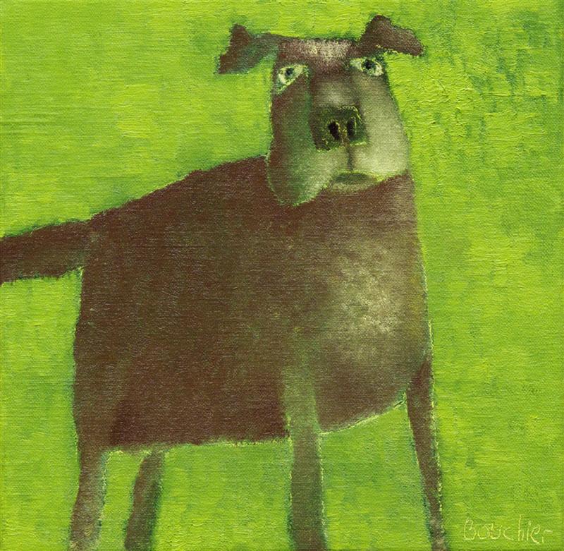Hond II, schilderij 24 x 24 cm