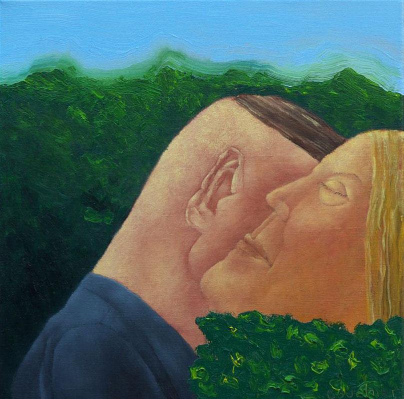 Tussen de bosjes, schilderij 40x40 cm