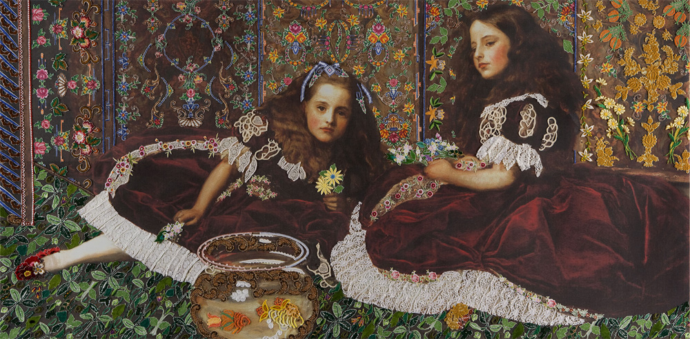 On Victorian Woman, handgeborduurd kleed, 120x60 cm