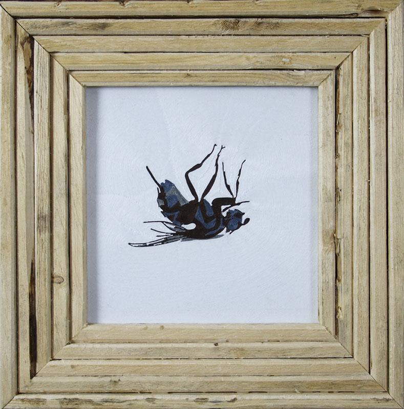 Dood vliegje, draadtechniek 36x36 cm