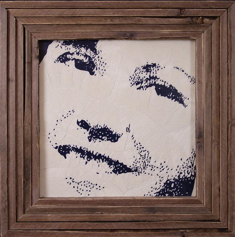 Portret van een vrouw, draadtechniek,50x50 cm