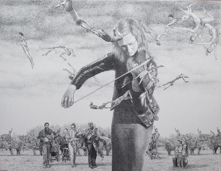 Kol Nidrei, tekening op paneel, 94 x 122 cm