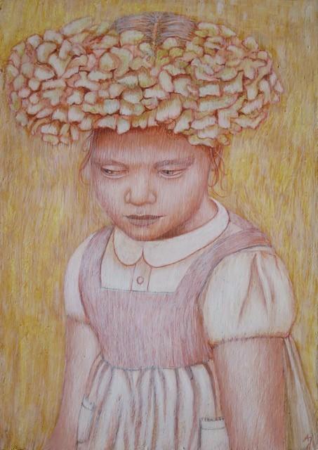 'Bloemenkind', eitempera op paneel, 13,5 x 9,5 cm