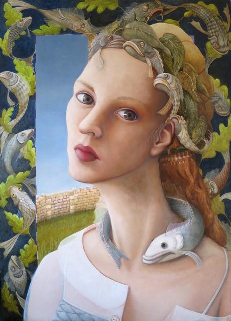 Vissenkoningin, schilderij 70 x 50 cm