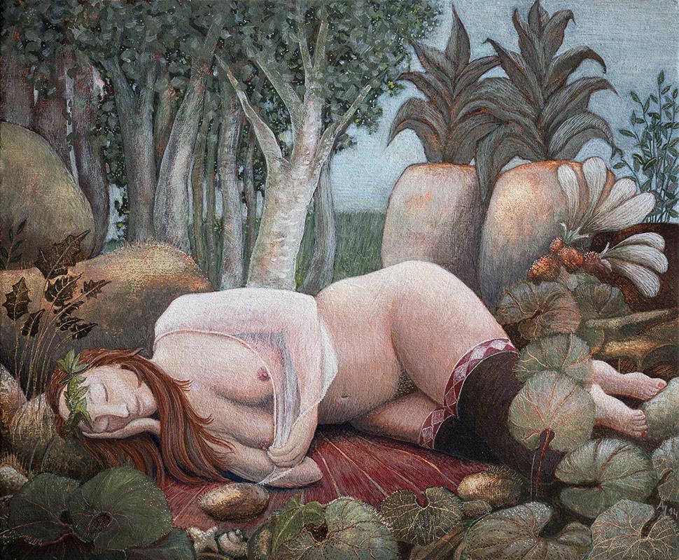 Verre dromen, schilderij van ei-tempera op paneel 16,5 x 20