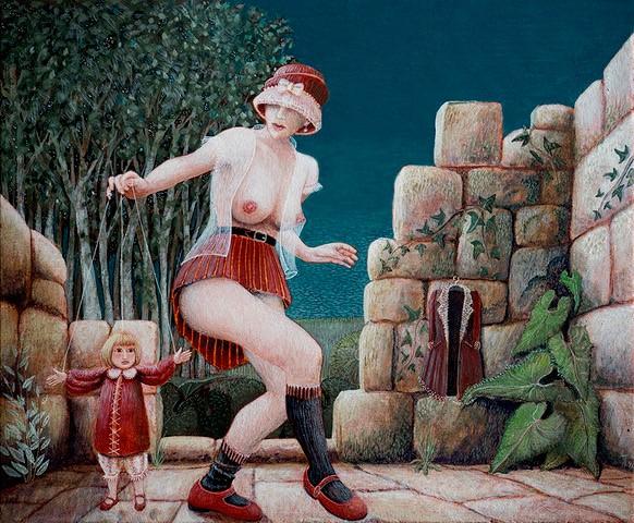 'Poppenspel' temperaschilderij op paneel 16,5 x 20 cm, verkocht