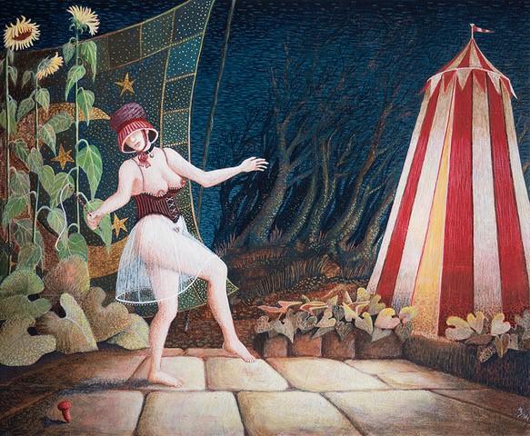 'Tollen voor de tent' temperaschilderij op paneel 16,5 x 20 cm