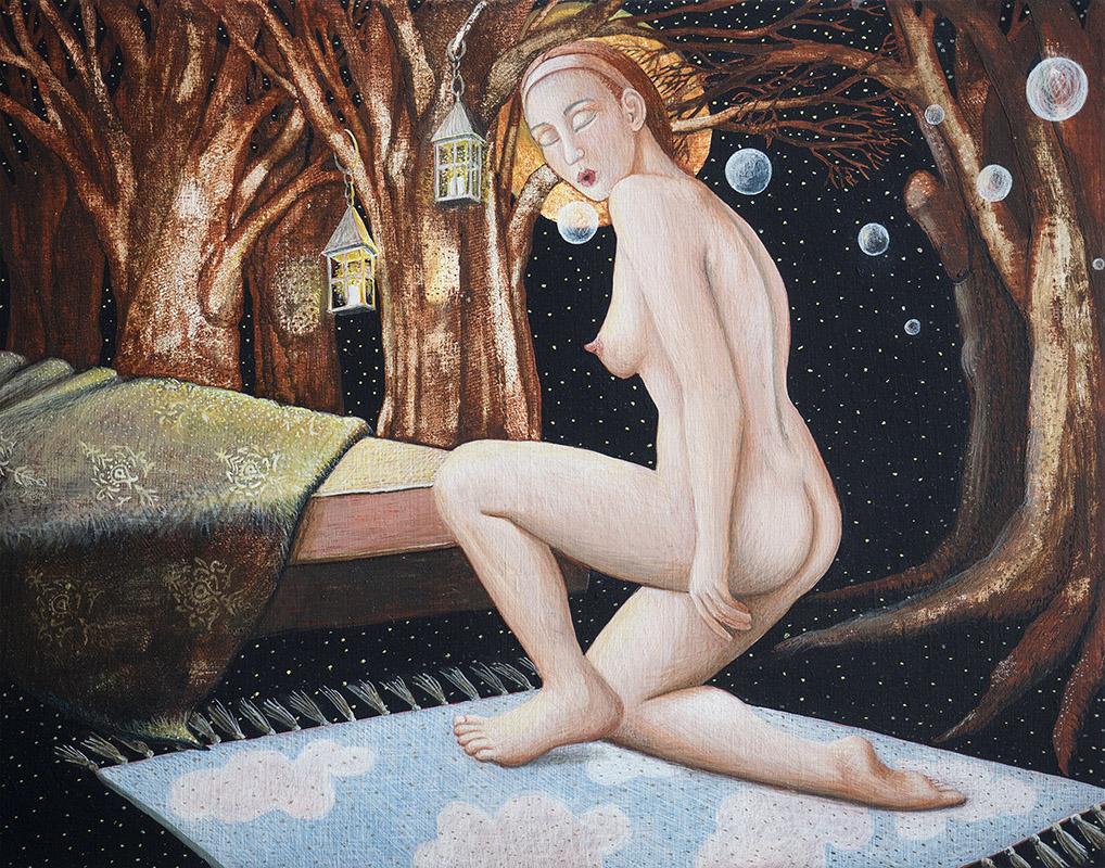 Bellen blazen, schilderij van ei-tempera op paneel 16,5 x 20, verkocht