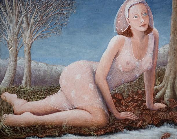 'Herfstbladeren' temperaschilderij op paneel 16,5 x 20 cm, verkocht