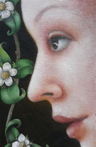 'Appelbloesem', olieverf op paneel, 15x10 cm
