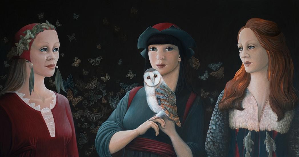 Nachtwacht, schilderij 63 x 120 cm