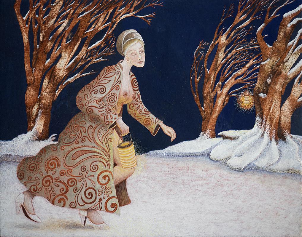 Met een lantaarntje zoek ik jou, schilderij van ei-tempera op paneel, 16,5 x 20 cm verkocht