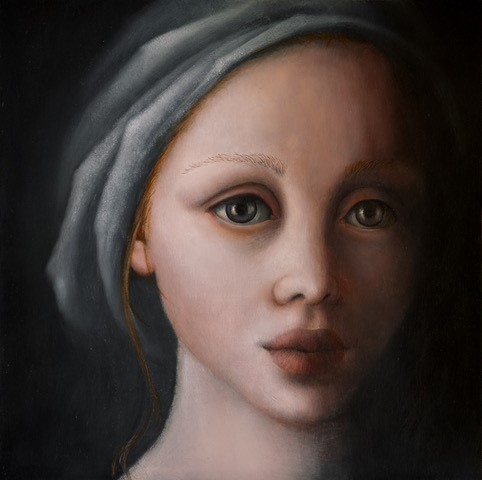 Eyes wide, schilderij 20 x 20 cm