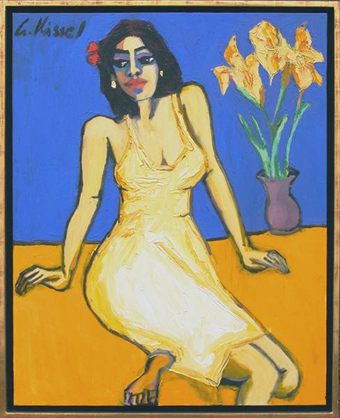 Galerie Delfi Form, Frau mit Narzissen schilderij 100x80 cm van Gernot Kissel, verkocht