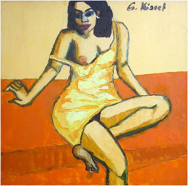 Galerie Delfi Form, Frau mit gelbes Kleid  100x100 cm van Gernot Kissel, verkocht
