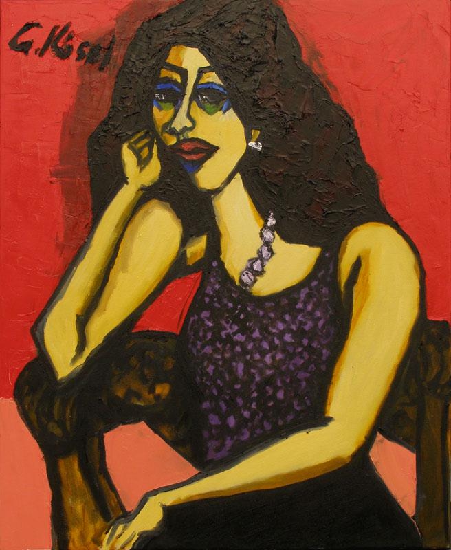 Sitzende, schilderij 80x60 cm, verkocht