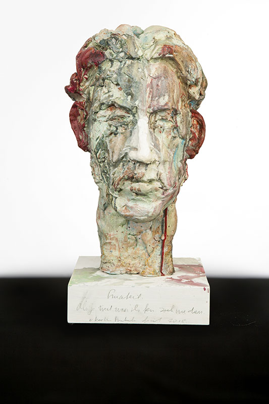 Lucebert, beeld van hardvormgips, 52 cm hoog