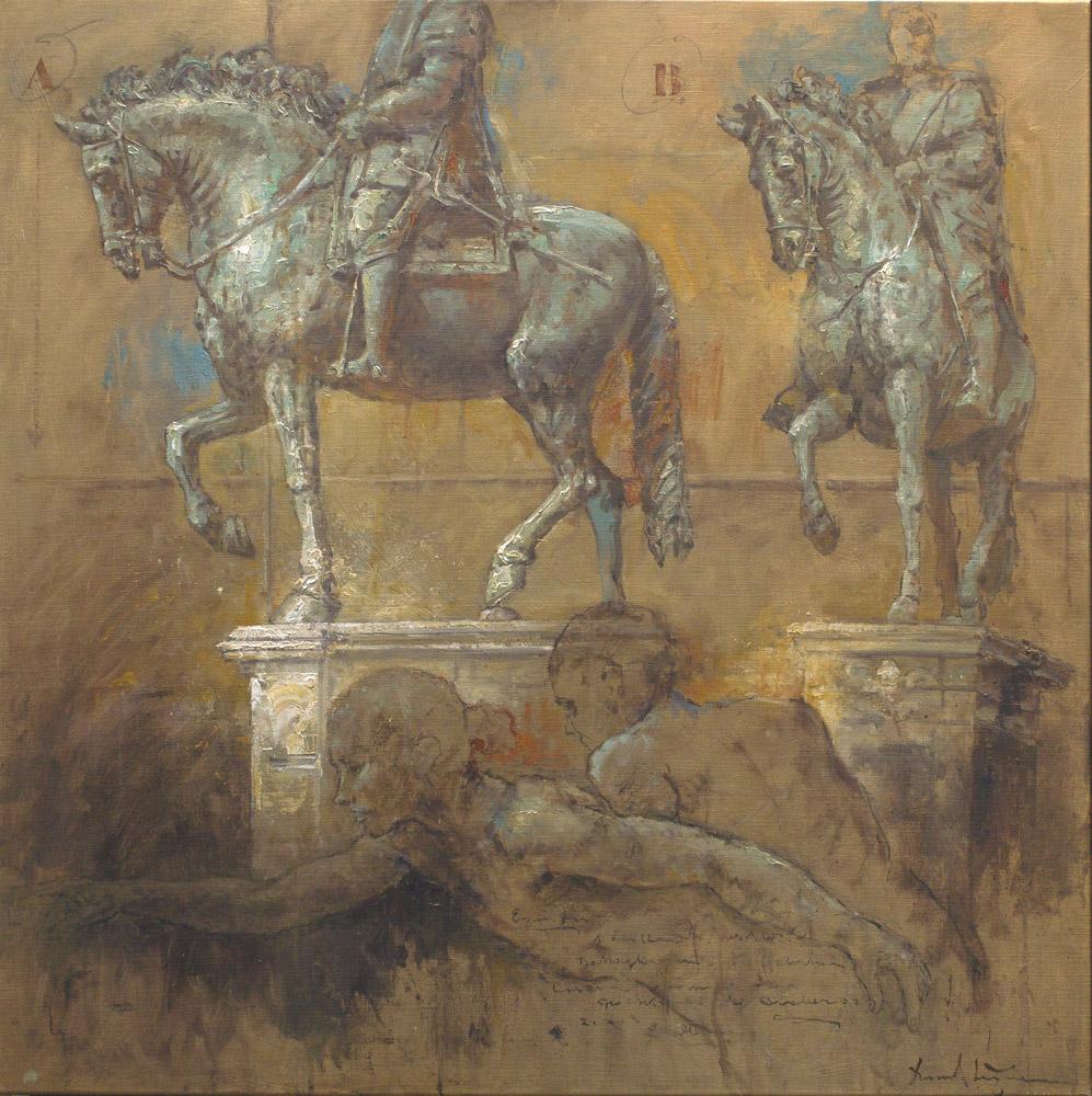 Equestre, olieverf op linnen, 120 x120 cm