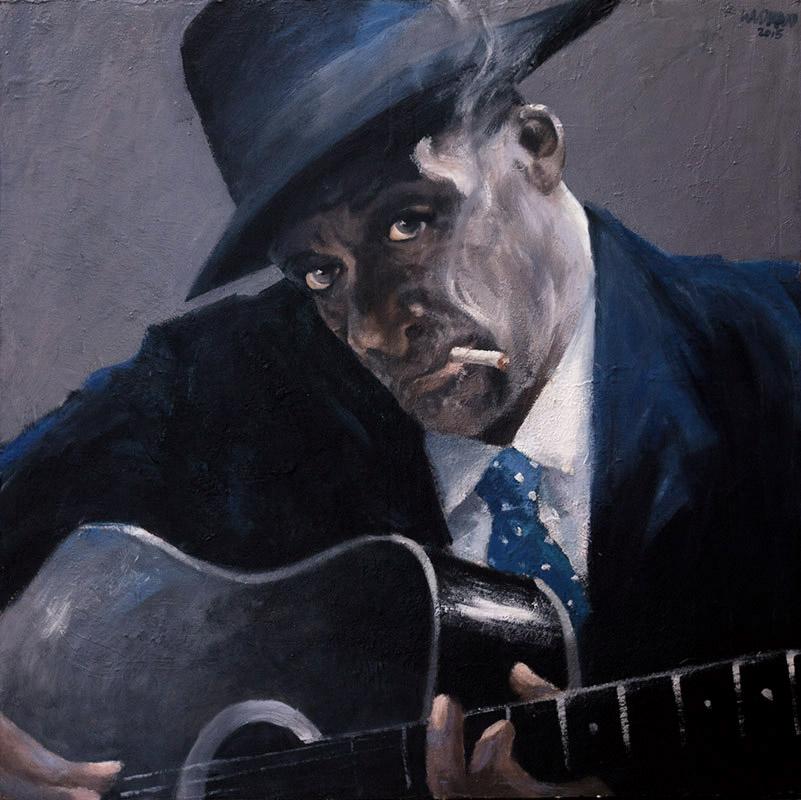 Galerie Delfi Form, Olskool blues, schilderij 100x100 cm, olieverf op doek