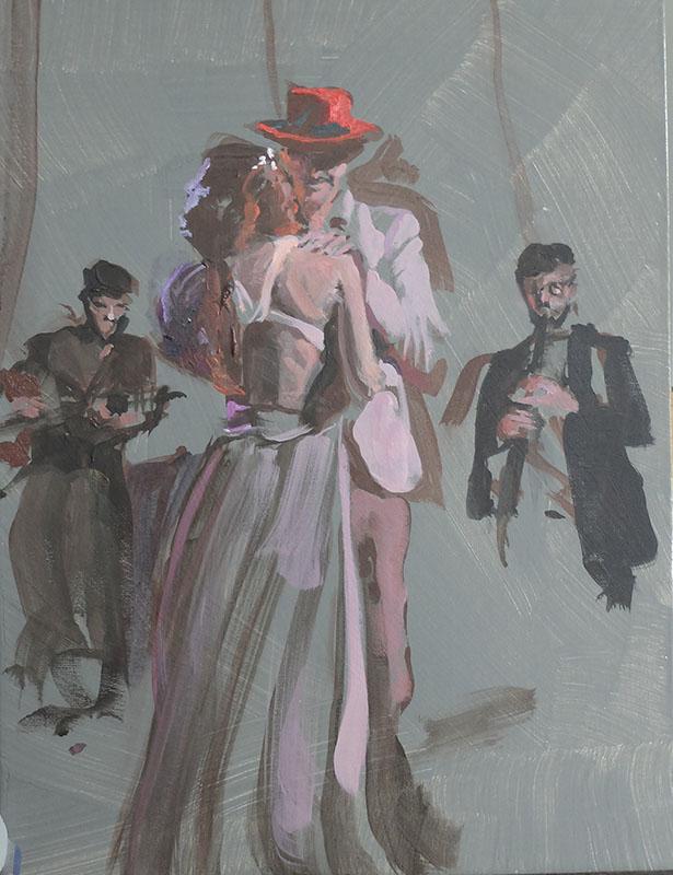 La dance, olieverfschets op paneel, 40x30 cm