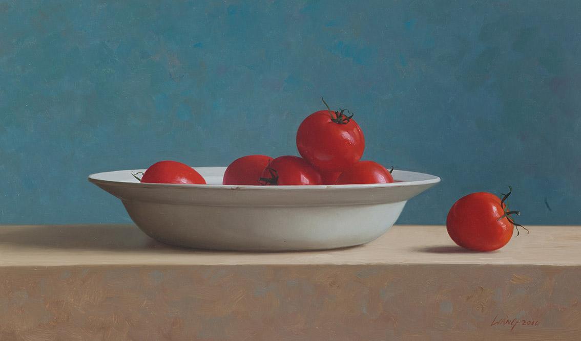 Tomaten, olieverf op doek 30x50 cm cm