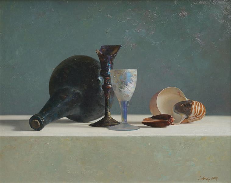 Oud glas en schelpen, olieverfschilderij 40 x 50 cm