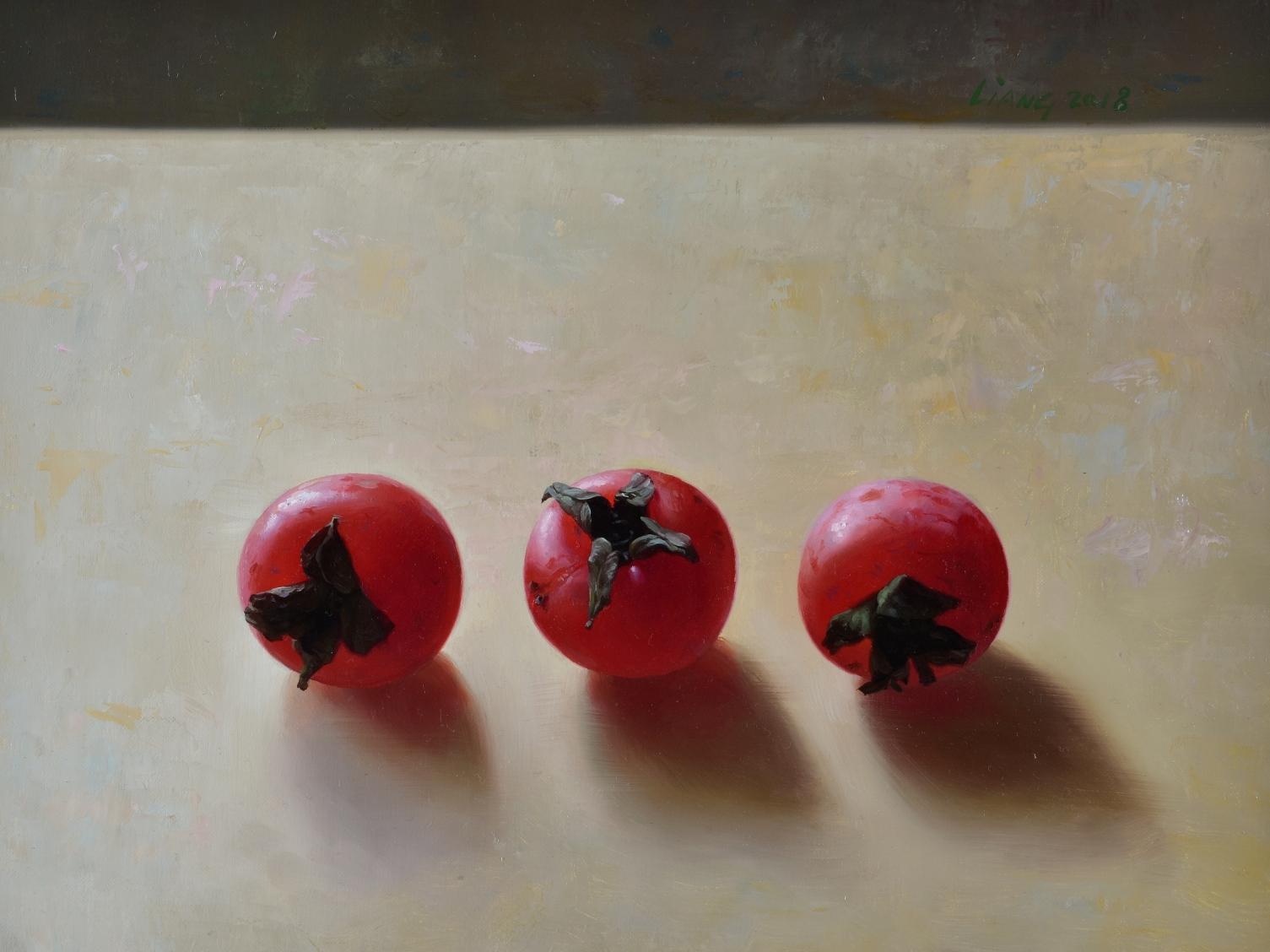 Drie rode persimons, olieverf op doek, 23 x 30 cm 2018