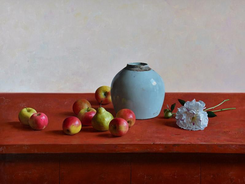 Witte pioenroos, olieverfschilderij, 60 x 80 cm