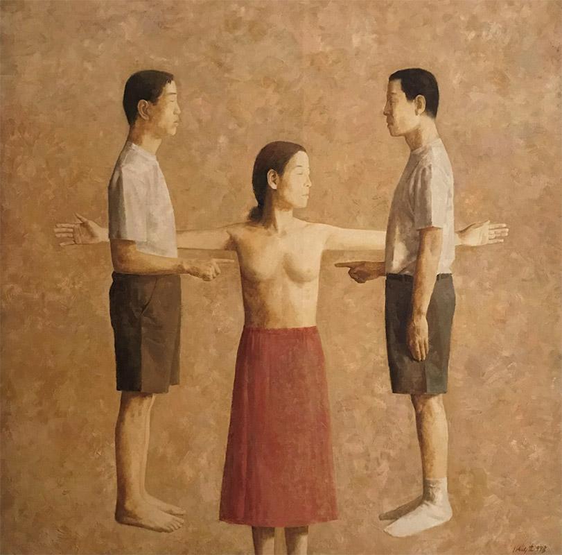 Handwijzer, olieverfschilderij 190 x 190 cm