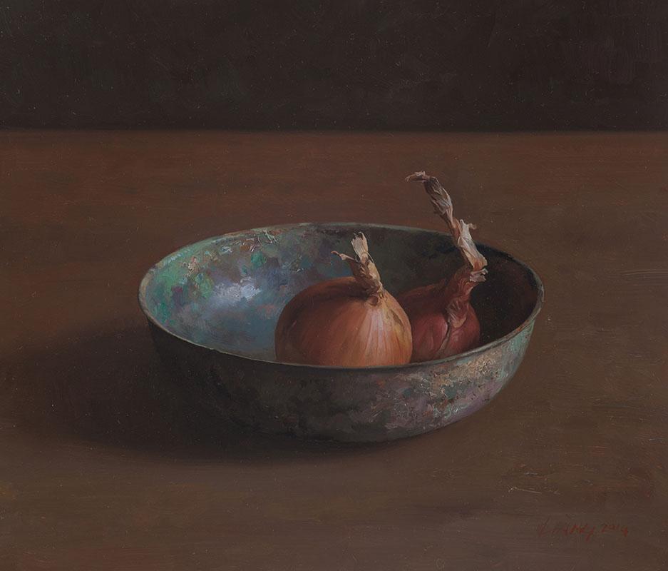 Uien op bronzen schaal, 30x35 cm, verkocht