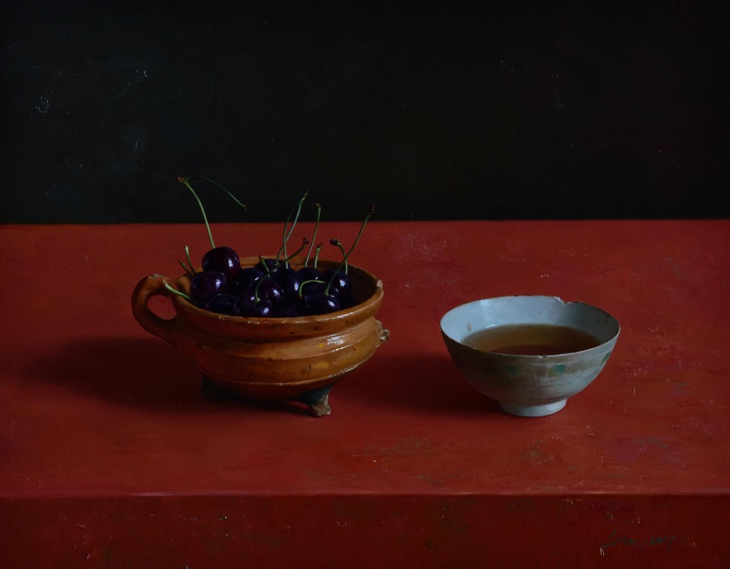 Een kom thee en een kom kersen, olieverf op doek, 40 x 50 cm 2017
