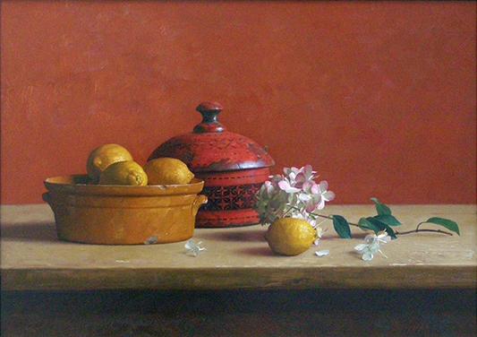 Citroenen en rode doos, 50x70 cm, verkocht