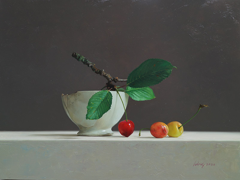 Kersen met witte kom, olieverfschilderij, 30 x 40 cm