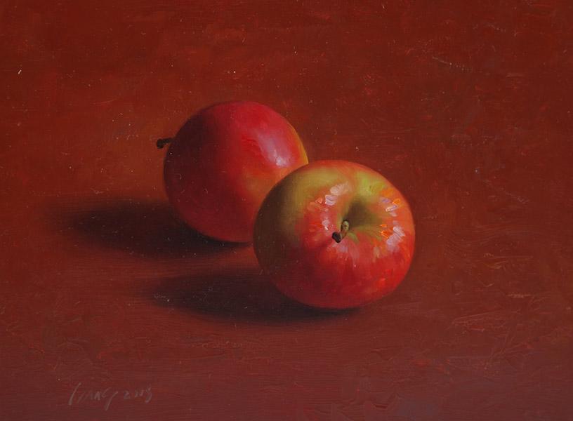 Twee appels, olieverfschilderij 18 x 24 cm