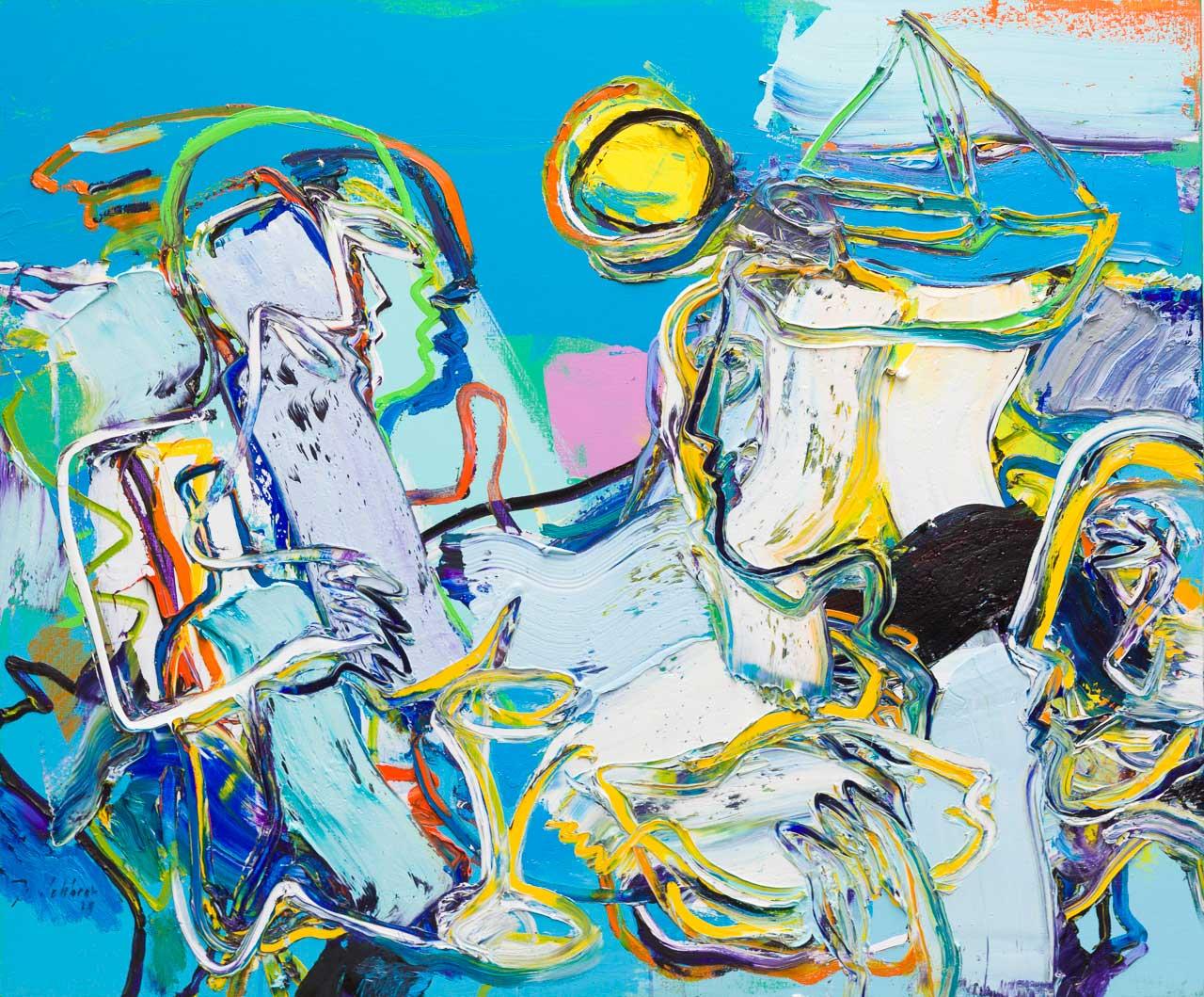 Figuur compositie 100 x 120 cm, olieverf op doek