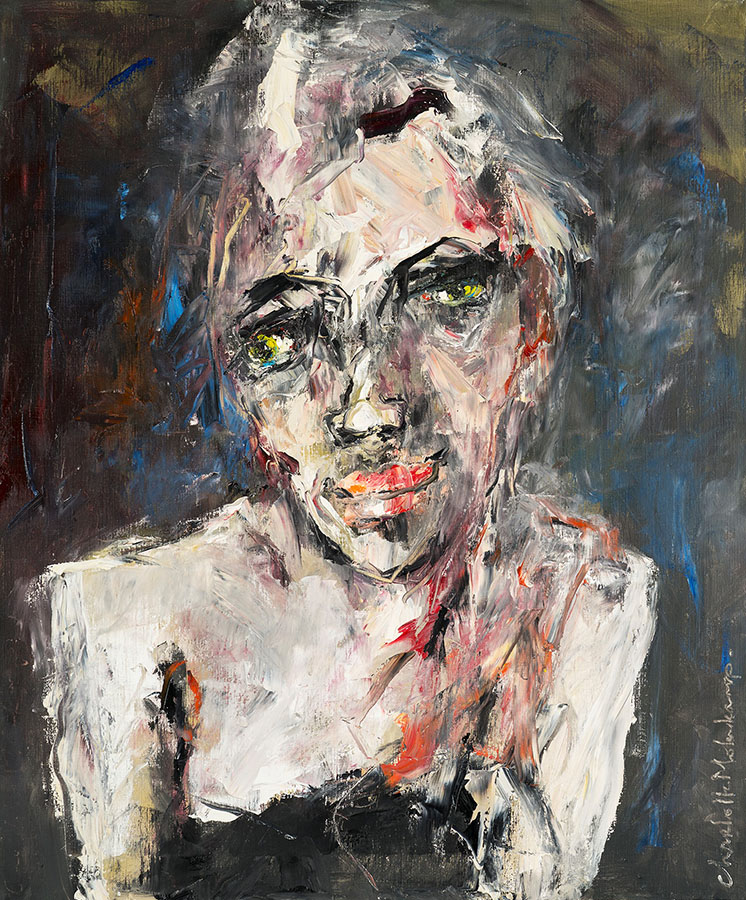 Charlotte Molenkamp, olieverfschilderij 120x100 cm, Far away eyes