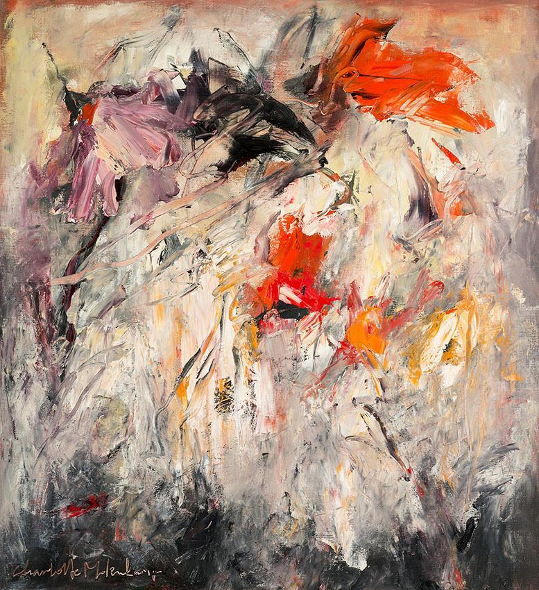 Charlotte Molenkamp, schilderij 120x110 cm, Tuin in toverlicht