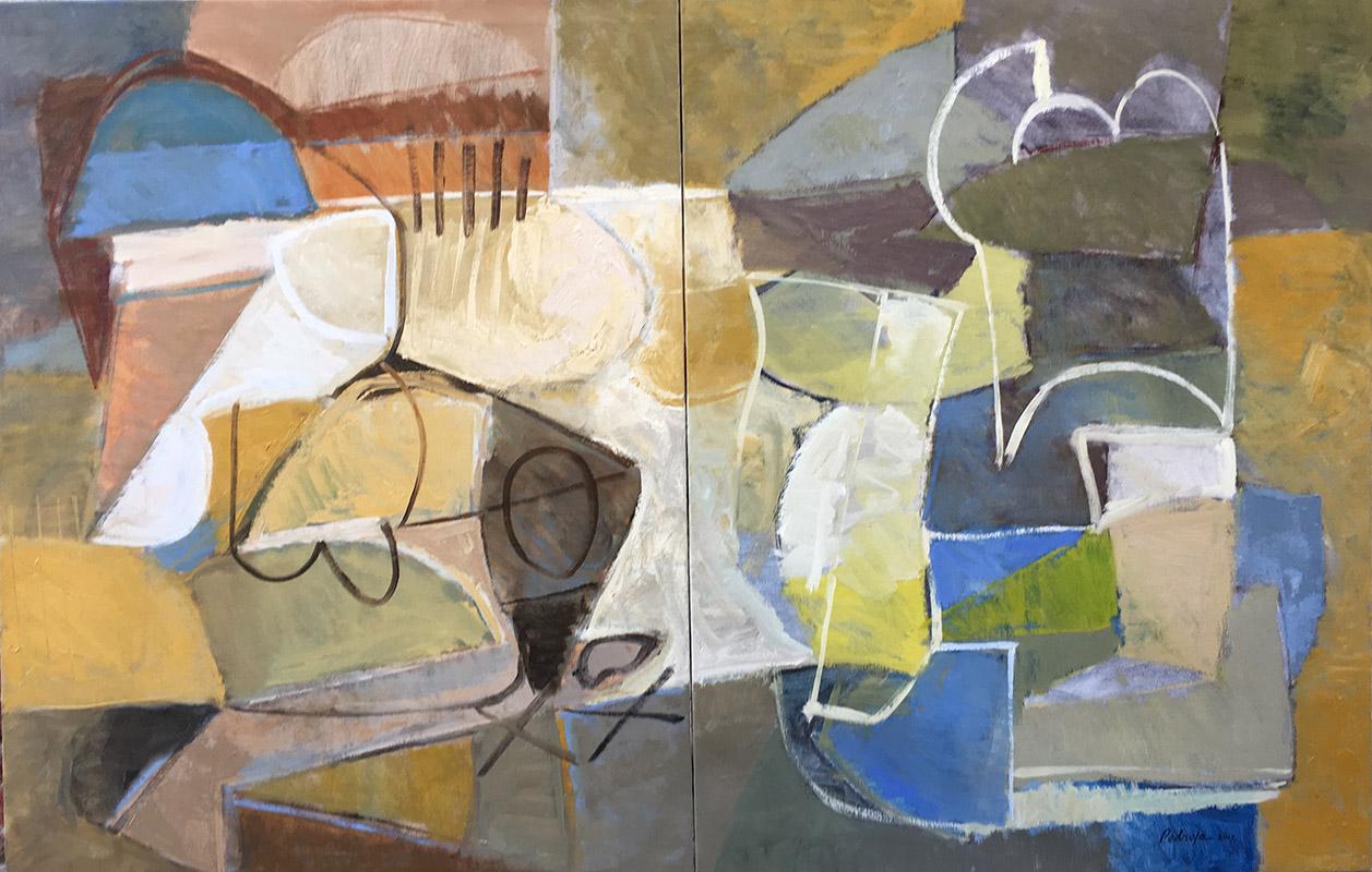 Passeggiata per le coline asolane, schilderij tweeluik 150 x 200 cm, 2017