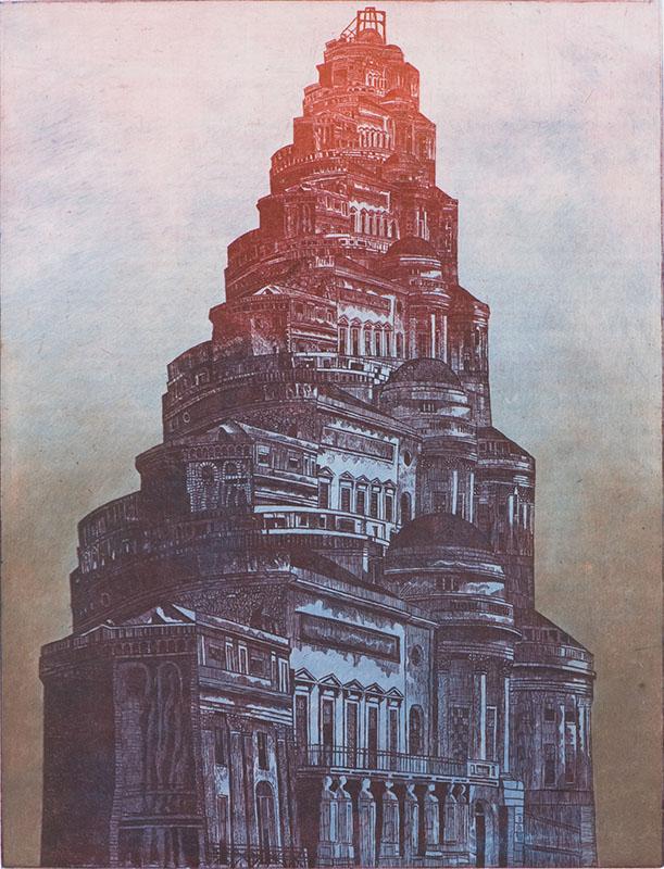 De stad die zich bleef herhalen tot er niets meer over was, ets 102 x 73 cm